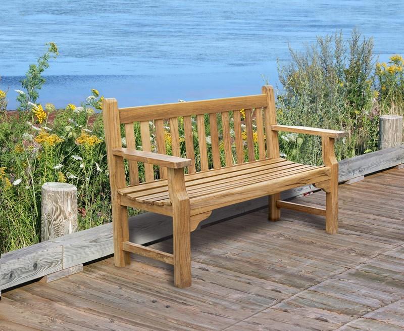Taverners Teak 4ft Solid Wood Garden Bench 1 2m