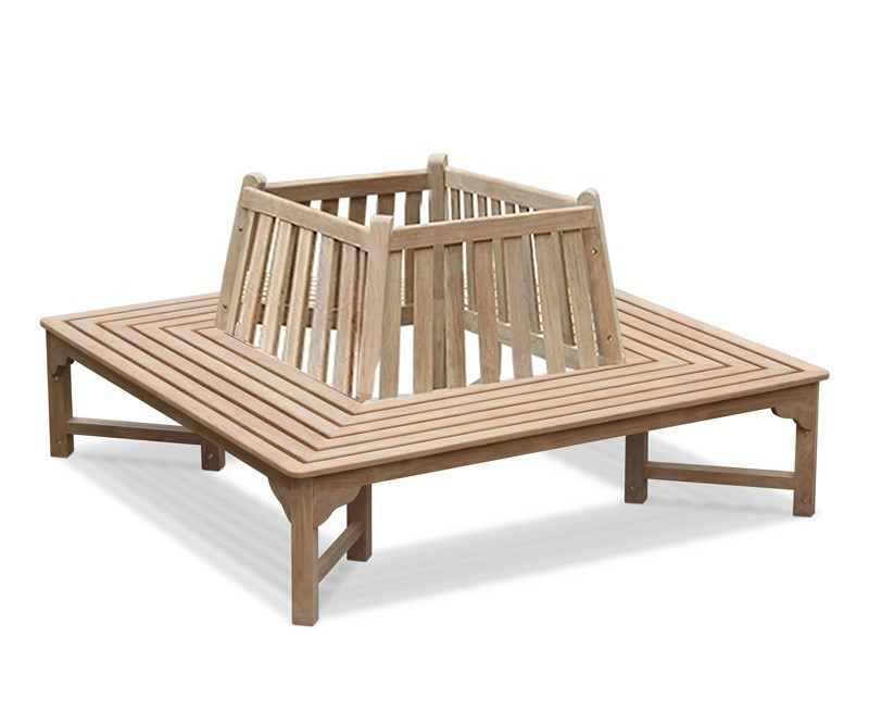 Square Tree Seat, Teak Wrap-around Tree Bench – 1.8m