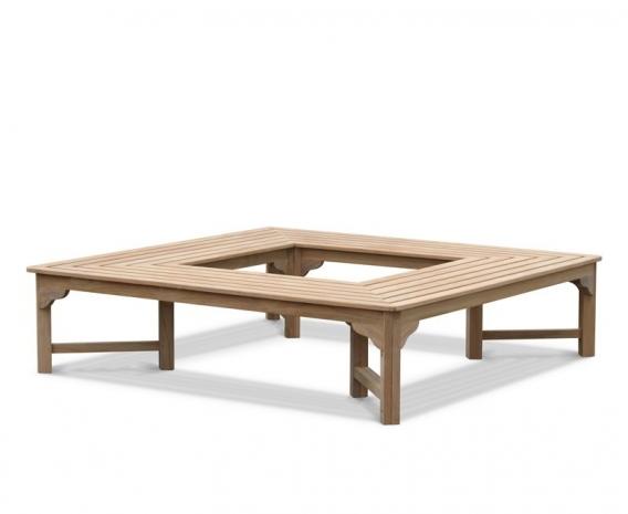 Teak Tree Square Bench Seat, Wrap-around Tree Bench – 1.8m