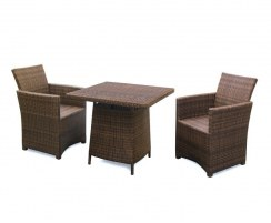 Eclipse Rattan Patio Dining Set with Square 0.8m Table & 2 Armchairs
