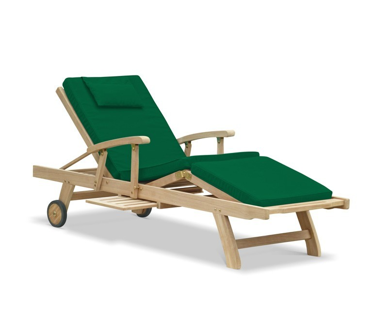 Luxury Teak Sun Lounger with arms and cushion