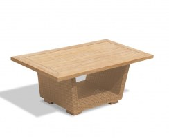 Sorrento Teak & Rattan Outdoor Coffee Table – 0.6 x 1.2m