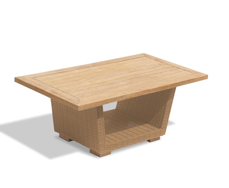 Sorrento Teak Rattan Outdoor Coffee Table Garden Occasional Table