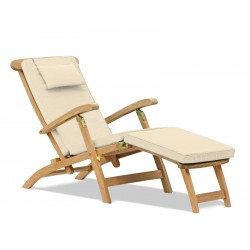 Halo Teak Steamer Chair, Brass fittings & Cushion