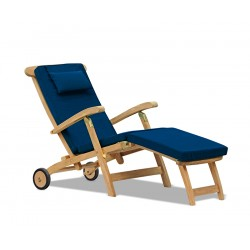 teak steamer deck chair with cushions and wheels