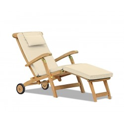 Halo Teak Steamer Chair with wheels and cushion