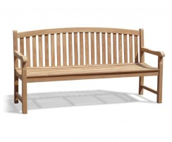 Clivedon Teak Wood Garden Bench, Traditional Outdoor Bench – 1.8m