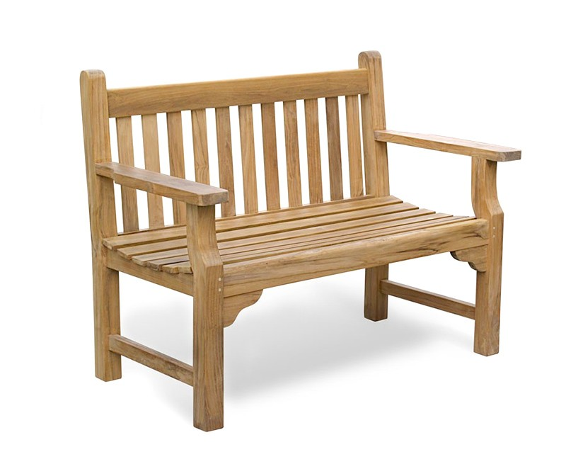 Taverners Teak 4ft Solid Wood Garden Bench 1 2m