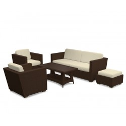 Riviera All-Weather Wicker Rattan Sofa Set with Coffee Table