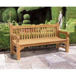 Balmoral Teak Queen's 90th Birthday Commemorative Bench – 1.8m