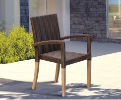 wicker rattan stackable chair