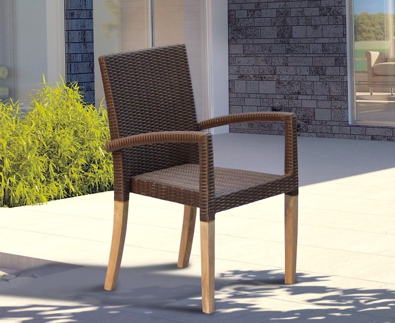 St Tropez Stacking Chair Teak And All Weather Wicker