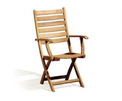 Suffolk Teak Folding High-Back Garden Chair, Wooden Outdoor Chair