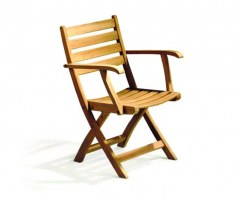 Suffolk Teak Folding Low-Back Garden Chair, Wooden Outdoor Chair