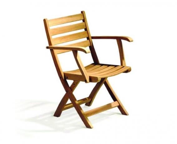 Suffolk Teak Folding Low Back Garden Chair Wooden Outdoor