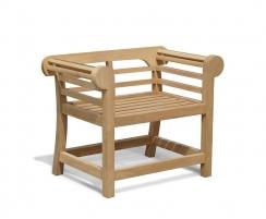 Teak Garden Seat, Lutyens style, Low back