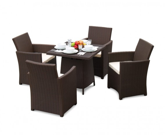 Eclipse Rattan Patio Dining Set with Square 0.8m Table & 4 Armchairs