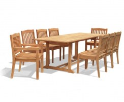 Hilgrove Teak Dining Set with Rectangular 1.8m Table & 8 Chairs
