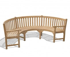 curved garden bench with arms
