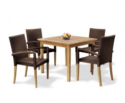 St. Tropez 4 Seater Dining Set Java Brown