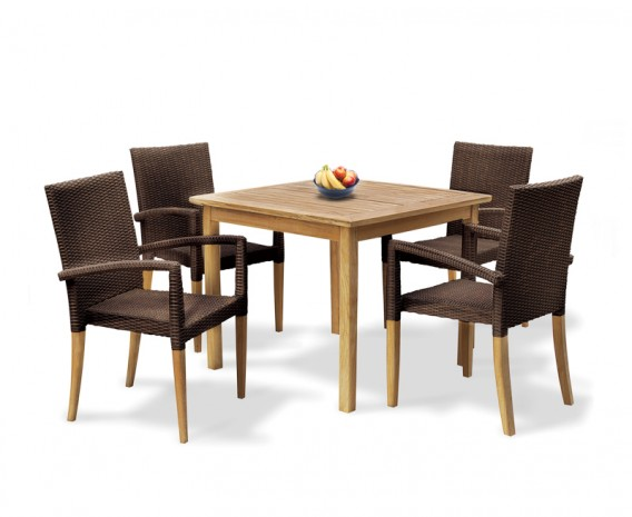 Sandringham Square Garden Table And 4 St. Tropez Stacking