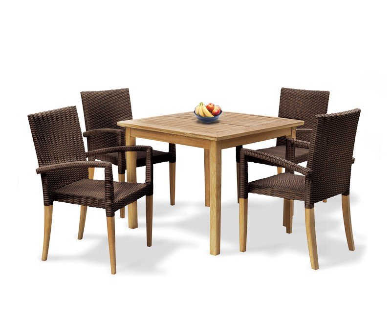 Sandringham Square Garden Table And 4 St Tropez Stacking