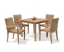 St. Tropez 4 Seater Dining Set Honey Wicker