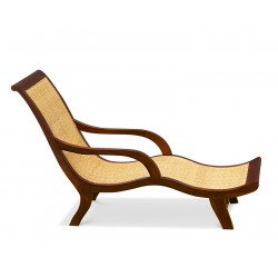 teak and rattan garden lounger