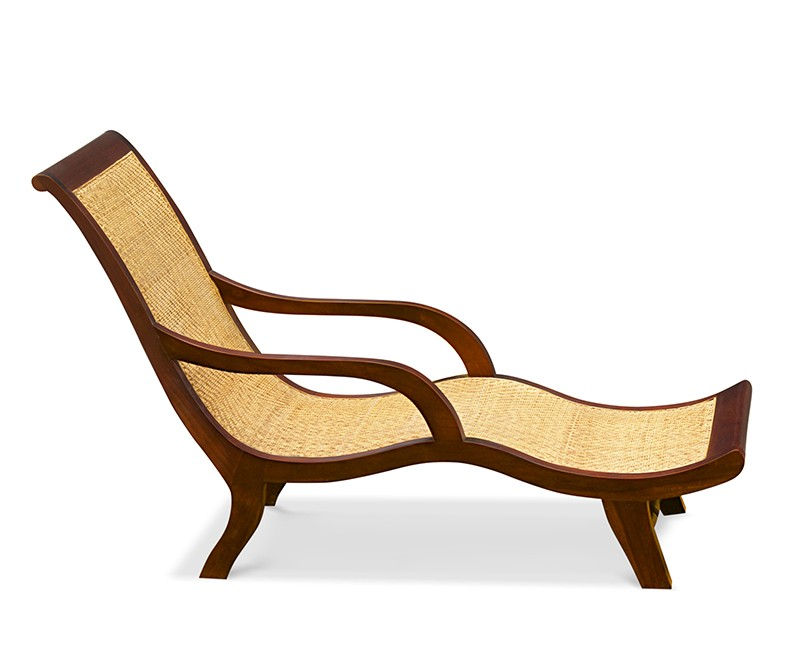 Capri Chaise Lounge Reclaimed Teak And Natural Rattan