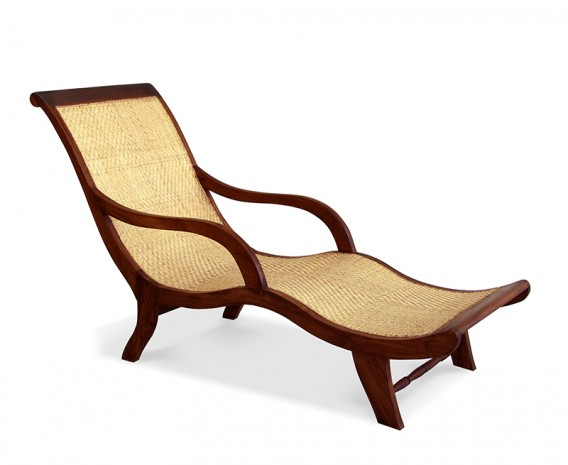 Capri Chaise Lounge, Reclaimed teak and natural rattan