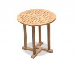 Canfield Small Fixed Teak Round Garden Patio Dining Table – 0.75m