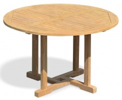 Canfield Teak Round Garden Patio Dining Table – 1.2m