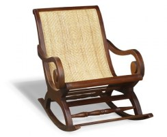 Capri Teak & Rattan Colonial Rocking Chair, Plantation Garden Rocker