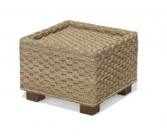 Seagrass Cube Side Table, Glass-topped Side Table