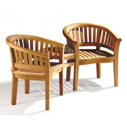 Contemporary Jack and Jill Bench, Teak Companion Seat