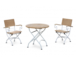 Bistro Round 0.8m Table & 2 Armchairs Set, Satin White Frame