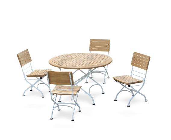 Bistro 4 Seater Folding Dining Patio Furniture Set Satin