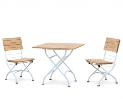 Teak Bistro Square 0.8m Table & 2 Side Chairs Set, Satin White Frame
