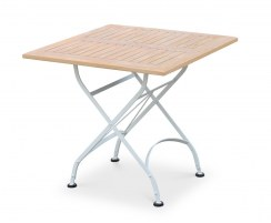 Folding Garden Bistro Table, Square, Satin White – 0.8m