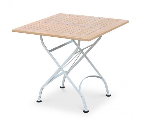 White Metal Garden Side Table: Teak Square Folding Bistro Table, Satin White Finish