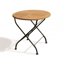 Teak Folding Bistro Round 0.8m Table & 2 Side Chairs