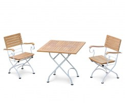 White Metal & Teak Bistro Square 0.8m Table & 2 Armchairs Set