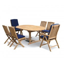 Brompton 6 Seater Extending Table 1.2-1.8m, Bali Folding Chairs & Recliners