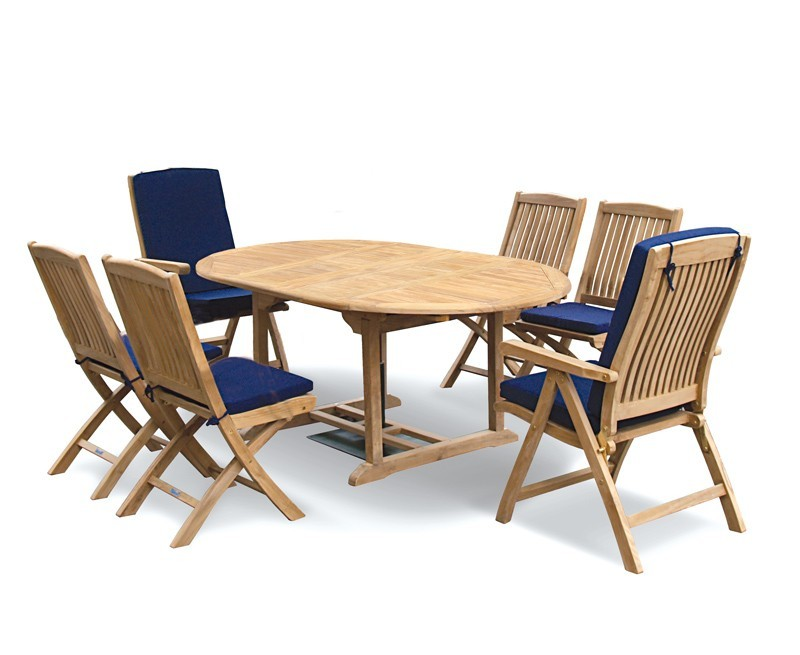 Brompton 6 Seater Extending Table 1.2 1.8m, Bali Folding Chairs U0026 Recliners