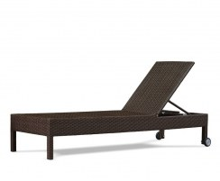 Rio Rattan Reclining Garden Sun Lounger with Wheels