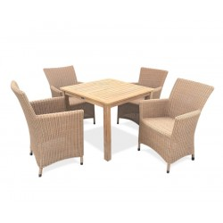 Riviera 4 Seater Teak and Rattan Garden Dining Set