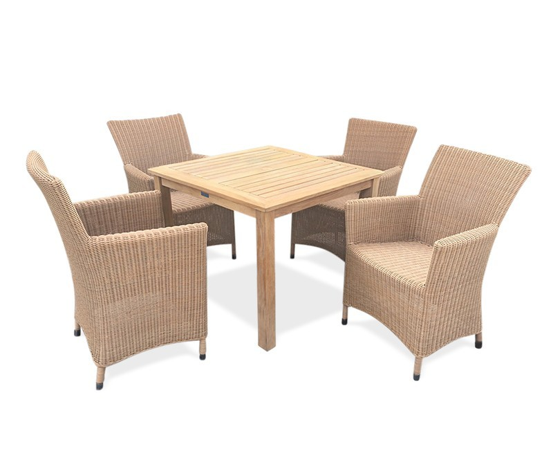 enjoy intimate alfresco dinners and your sleepy morning cups of coffee with this modestly sized yet superbly stylish rattan garden dining set perfect for