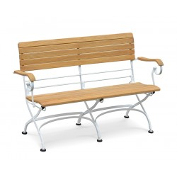 Folding Bistro Bench with arms, Satin White – 1.2m