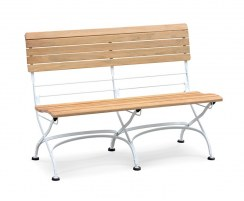 Folding Bistro Bench, Teak, Satin White – 1.2m