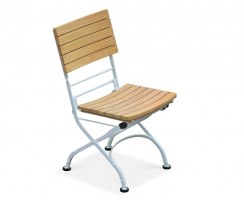 Classic Bistro Chair, Folding Side Chair, Teak, Satin White